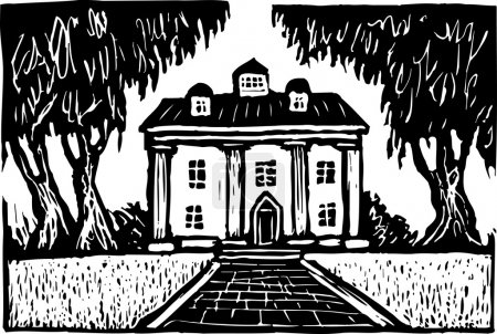 Woodcut Illustration of Southern Plantation