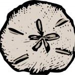 Woodcut illustration of Sand Dollar...