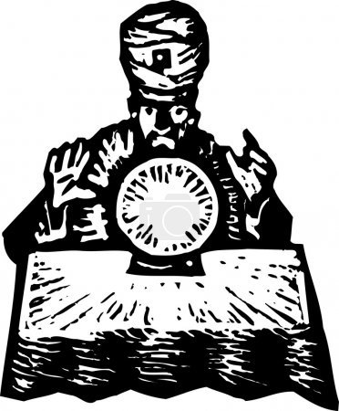Illustration for Woodcut Illustration of Fortune Teller with Crystal Ball - Royalty Free Image