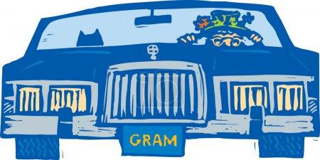 Illustration pour Illustration de gravure sur bois d'une femme âgée conduisant une voiture - image libre de droit