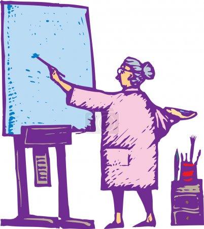 Illustration pour Illustration de la peinture de femme sur toile - image libre de droit