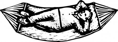 Illustration pour Gravure sur bois Illustration de l'homme relaxant sur hamac - image libre de droit