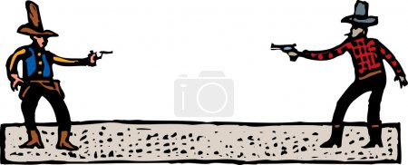 Woodcut Illustration of Old West Gunfight or Duel...