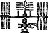 Woodcut Illustration of International Space Station