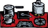 Woodcut Illustration of Stovetop with Pots and Pans