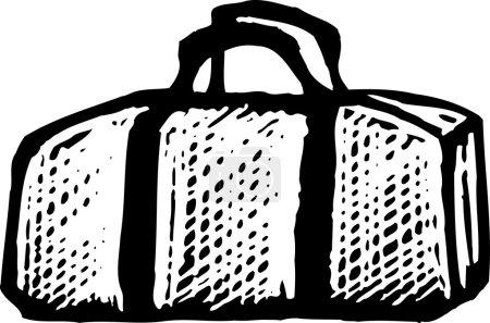 Illustration for Woodcut Illustration of Duffel Bag - Royalty Free Image
