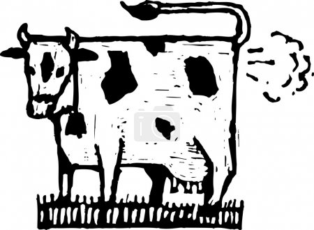 Woodcut Illustration of Cow Farting or Global Warming