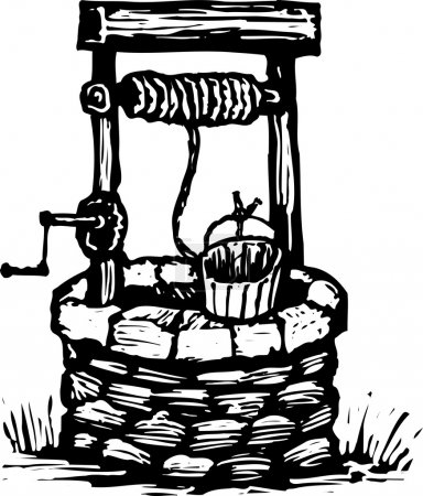 Woodcut Illustration of Water Well...