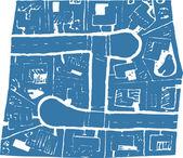 Woodcut Illustration of Suburban Subdivision
