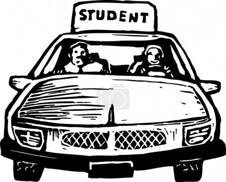 Illustration pour Illustration de gravure sur bois de jeune fille élève conducteur - image libre de droit