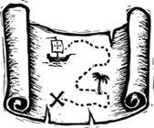 Woodcut Illustration of Treasure Map