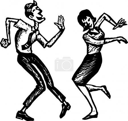 Holzschnitt-Illustration von Mann und Frau beim Tanzen