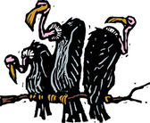 Woodcut illustration of Vultures