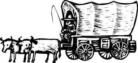 Woodcut Illustration of Conistoga Wagon
