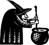 Woodcut Illustration of Witch Stirring Cauldron