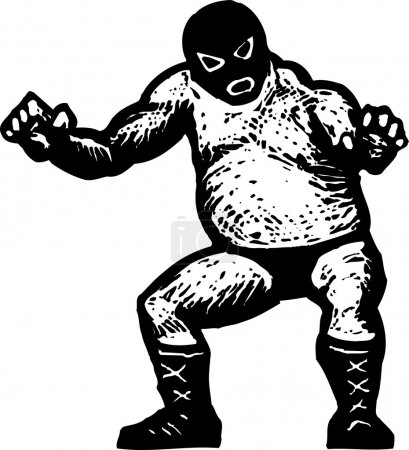 Woodcut Illustration of Professional Wrestler