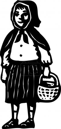 Illustration for Woodcut Illustration of Little Red Riding Hood - Royalty Free Image