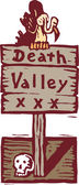 Woodcut illustration of Death Valley Sign with Vulture and Skull