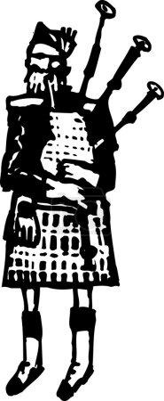 Woodcut Illustration of Scottish Man in Kilt Playing Bagpipe