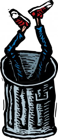 Woodcut Illustration of Teen Boy Dumped in Trash Can