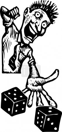 Vector Illustration of High Roller Gambler Throwing Dice