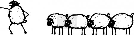 Vector Illustration of Leader Leading Flock of Sheep