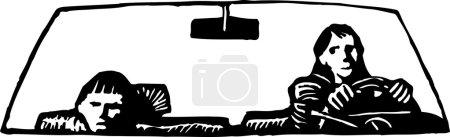 Illustration pour Illustration vectorielle en noir et blanc d'un garçon bouleversé chevauchant une voiture avec sa mère - image libre de droit