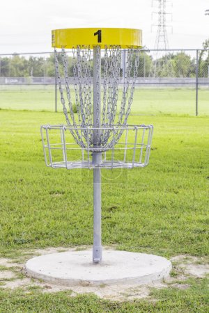 Photo for A shot of the first hole of a disc golf course. - Royalty Free Image