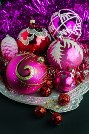 red and pink Christmas decorations