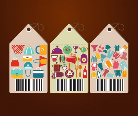 Shopping Icons and Universal tags flat icons shape label