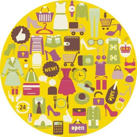 Photo pour Shopping icônes connexes faites en forme de cercle Femmes Vêtements et chaussures - image libre de droit