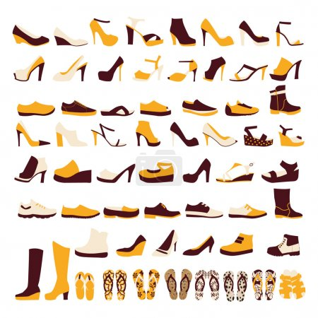icon set of men's  and of women's shoes