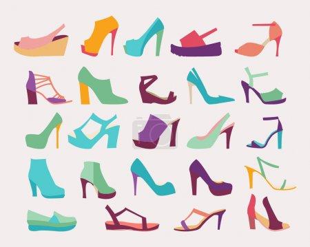 Illustration pour Un ensemble d'élégants talons hauts Femmes Chaussures Icônes plates ensemble - image libre de droit