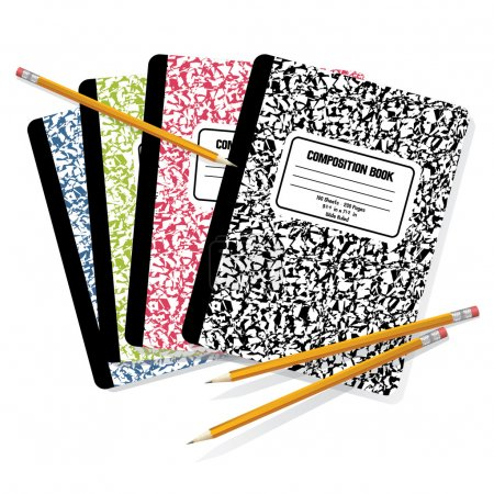 Illustration for Detailed vector illustration of pencils on top of composition books. - Royalty Free Image