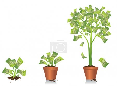 Illustration for Illustration of a small plant developing into a money tree. Vector artwork is in layers and can be scaled and modified to fit your own design. - Royalty Free Image