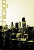 An alternative fresh view of the famous skyline facing North No transparencies in the file The word Chicago is in a separate layer in the EPS 10 file and can be moved or removed