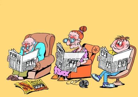 Family idyll. caricature