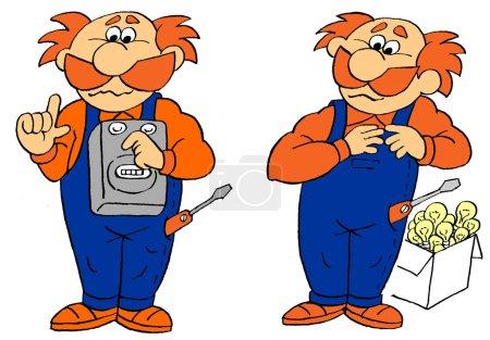 Photo pour Des électriciens drôles de dessins animés. caricature - image libre de droit