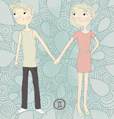 Zodiac sign Gemini Twin brother and sister hold each other's hand eps 10