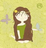 Zodiac sign Virgo Cute little girl sitting on the garden eps10