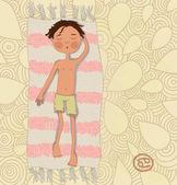Zodiac sign Cancer Boy sunbathe on the mat eps 10