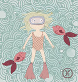 Zodiac sign Pisces Cute little girl swimming with fishes eps 10
