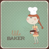 Illustration of a cute girl who cooked cake