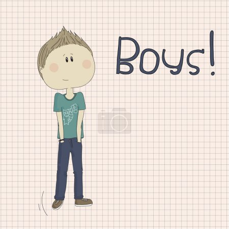 Illustration of hipster boy