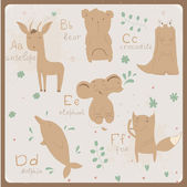 Cute zoo alphabet in vector  A b c d e f letters Funny animals