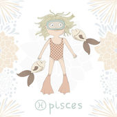 Zodiac sign Pisces Cute little girl swimming with fishes