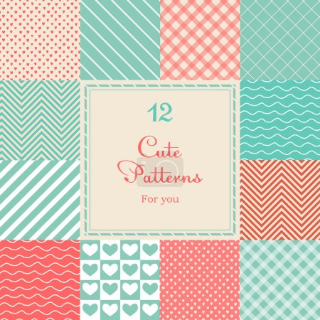 Illustration for 12 Cute different vector seamless patterns (tiling). Pink, red and blue color. Endless texture can be used for printing onto fabric and paper or scrap booking. Heart, stripes, rhombus, chevron. - Royalty Free Image