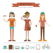 Funny cartoon illustration of young girls with hipster fashion style