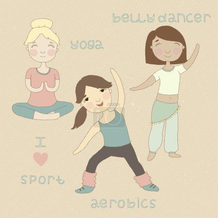 Cute girls play sports. Yoga, aerobics, belly dancing.