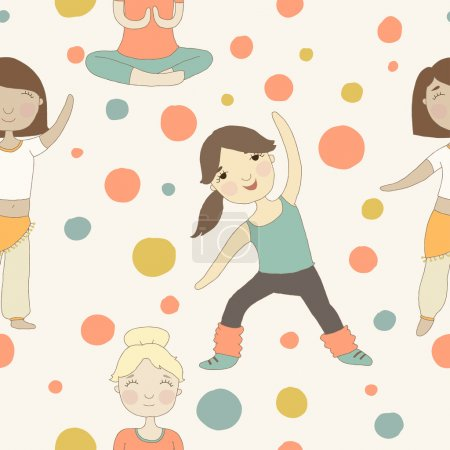 Cartoon pattern with girls involved in sports.